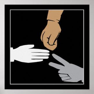Rock Paper Scissors Hands Poster