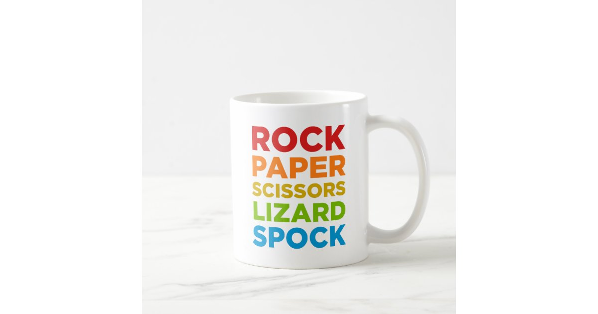 rock paper scissors lizard spock mug Purchase geek clothing with the best visual representation of the game rock paper scissors lizard spock as shown on the big bang theory episode entitled the lizard-spock expansion.