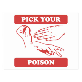 Rock Paper Scissors Pick Your Poison Postcard