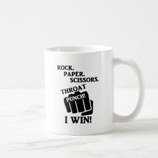 Rock, Paper, Scissors, Throat Punch! I win! Classic White Coffee Mug