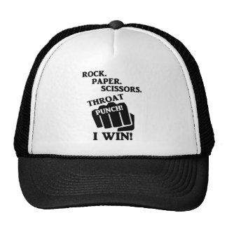 Rock, Paper, Scissors, Throat Punch! I win! Trucker Hat