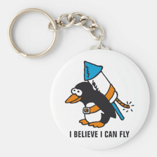 rock penguin basic round button keychain