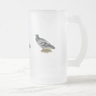 Rock Pigeon or Rock Dove Frosted Glass Beer Mug