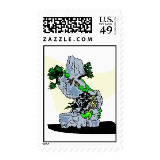 Rock Planting Bonsai Graphic Image Postage Stamps