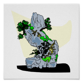 Rock Planting Bonsai Graphic Image Poster