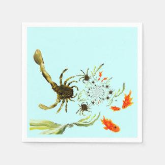 Rock Pool Crabs and Fish fun Paper Napkin