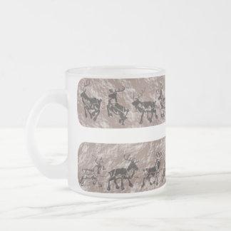 Rock Reindeer Frosted Glass Coffee Mug