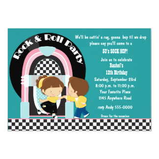 Rock & Roll Dancers Birthday Invitation