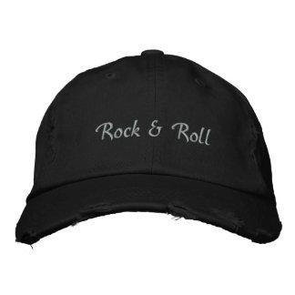 Rock & Roll Embroidered Light Text Baseball Cap