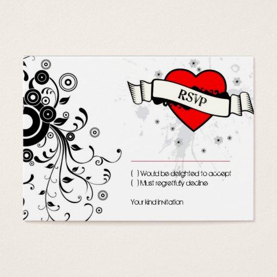 Rock & Roll Grungy Heart Music Themed Wedding Business Card