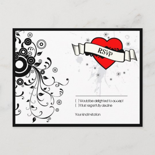 rock roll grungy heart music themed wedding invitation postcard
