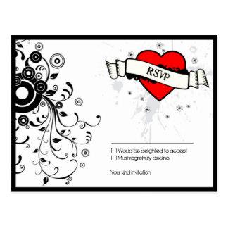 Rock & Roll Grungy Heart Music Themed Wedding Postcard