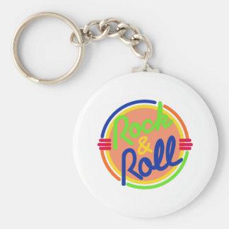 Rock & Roll Basic Round Button Keychain