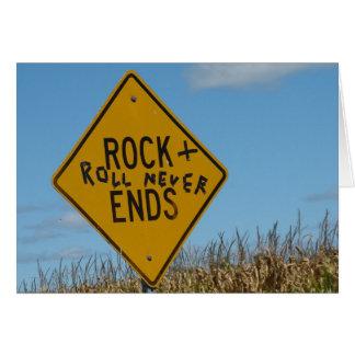 Rock & Roll Never Ends, Fun Street Sign Graffiti Card