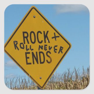 Rock + Roll Never Ends, Fun Street Sign Graffiti Square Sticker
