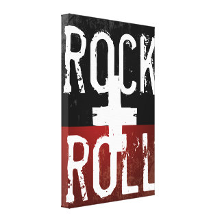 rock + roll on black and red canvas print
