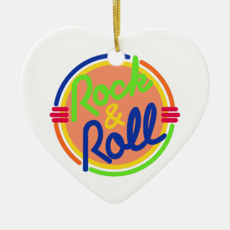 Rock & Roll Double-Sided Heart Ceramic Christmas Ornament