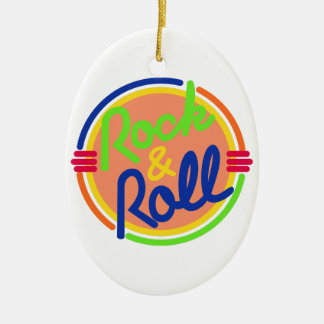 Rock & Roll Double-Sided Oval Ceramic Christmas Ornament