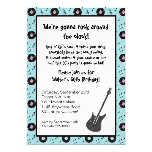 Rock & Roll Party Invitation