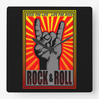 Rock & Roll Square Wall Clock