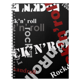 rock & roll typography design spiral note books