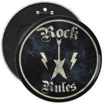 rock, rules, music, cool, rock rules, funny, 80s, vintage, rock and roll, retro, cassette, tape, band, record, player, stereo, radio, old, school, urban, musician, artist, audio, Button with custom graphic design