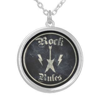 Rock Rules !! Silver Plated Necklace