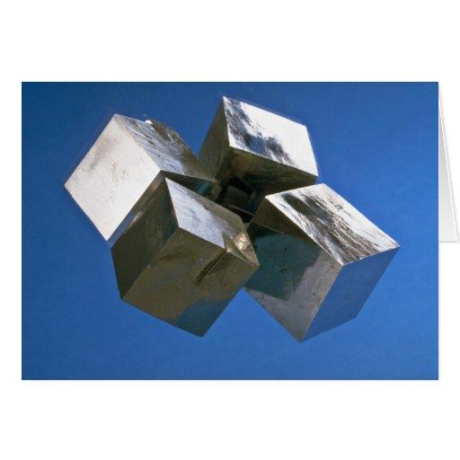 Rock shiny Pyrite mineral blocks Greeting Card
