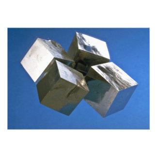 Rock shiny Pyrite mineral blocks Personalized Invite