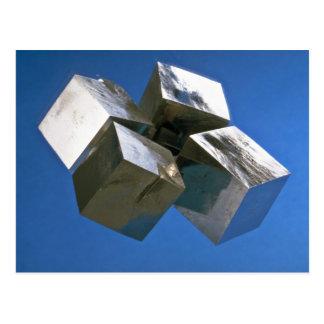 Rock shiny Pyrite mineral blocks Post Cards