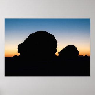 Rock Silhouettes at Sunset, White Desert, Egypt Poster