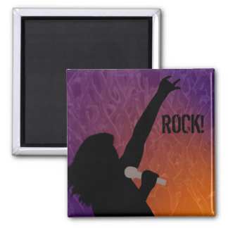 Rock Singer's silhouette With a Crowd 2 Inch Square Magnet