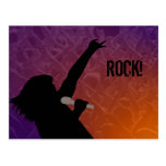 Rock Singer's silhouette With a Crowd Postcards