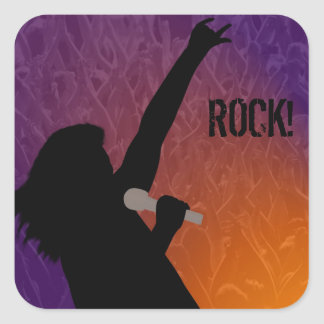 Rock Singer's silhouette With a Crowd Square Sticker