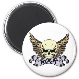 Rock Skull with Wings Magnet