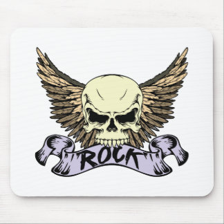 Rock Skull with Wings Mouse Pad