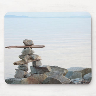 Rock stacking art by the beach. photo by Hao zhang Mouse Pad