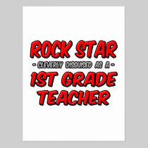 Rock Star...1st Grade Teacher Postcard