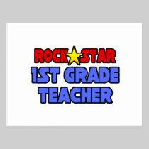 Rock Star 1st Grade Teacher Postcard