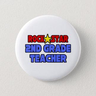 Rock Star 2nd Grade Teacher Pinback Button