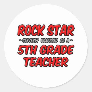 Rock Star...5th Grade Teacher Round Sticker