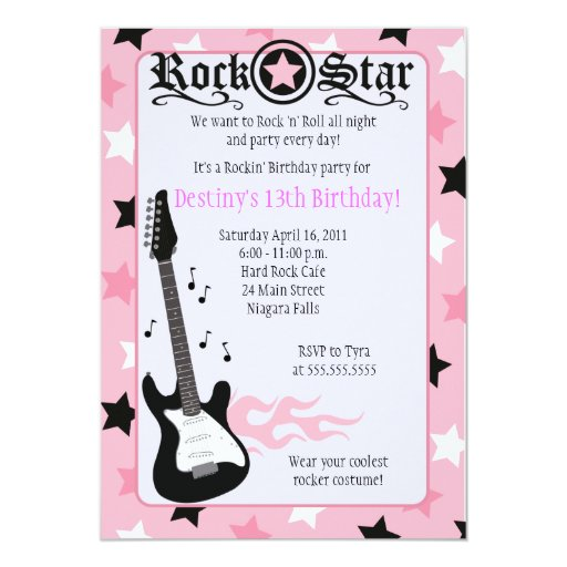 ROCK STAR 5x7 Pink Rocker Birthday Invitation