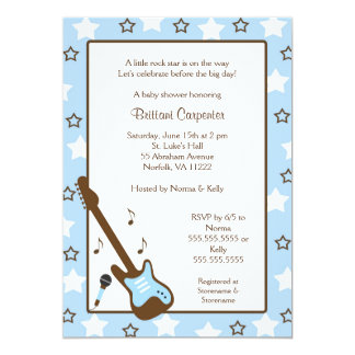 Rock Star Baby Shower Invite Blue Brown