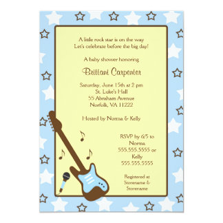 Rock Star Baby Shower Invite Blue Yellow Brown