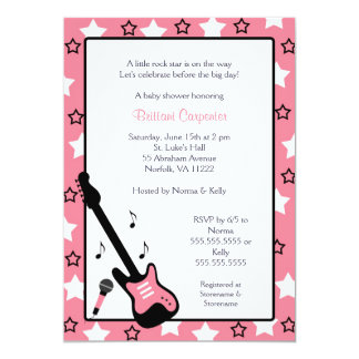 Rock Star Baby Shower Invite Pink 5x7