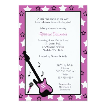 Toddler & Baby themed Rock Star Baby Shower Invite Purple 5x7