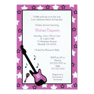 "Rock Star Baby Shower Invite Purple 5x7 5"" X 7"" Invitation Card"