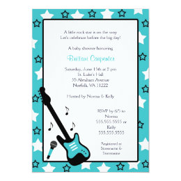 Rock Star Baby Shower Invite Turquoise 5x7