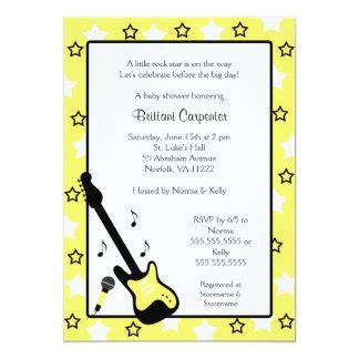 Rock Star Baby Shower Invite Yellow 5x7