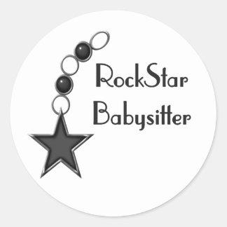 Rock Star Babysitter Classic Round Sticker